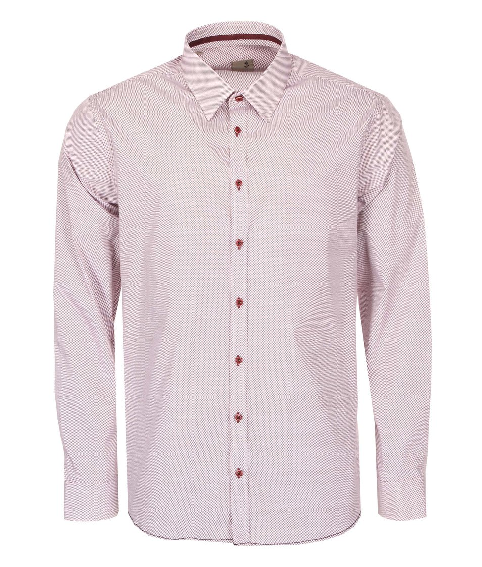 Vínová košile s jemným vzorem Seidensticker Kent Tape City Slim Fit