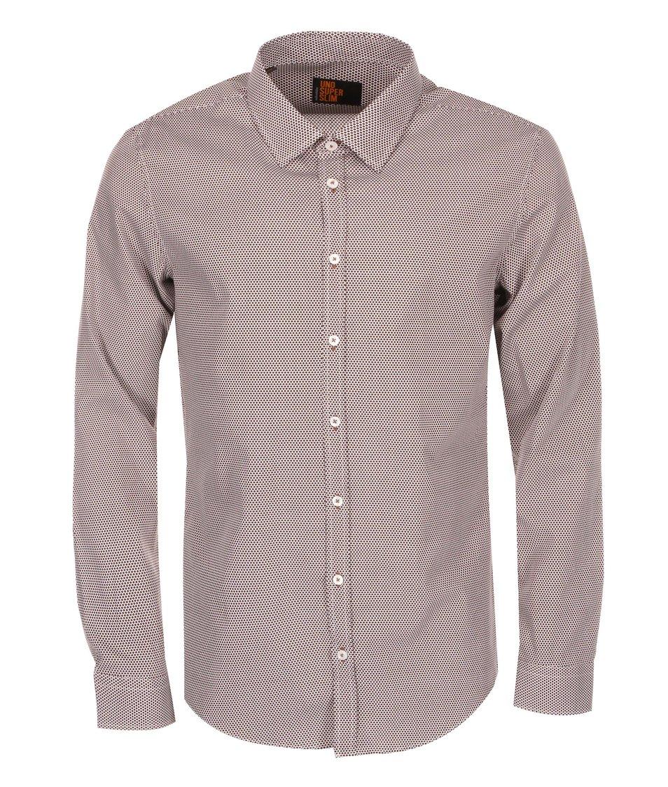 Bílo-hnědá vzorovaná košile Seidensticker Kent City Super Slim fit