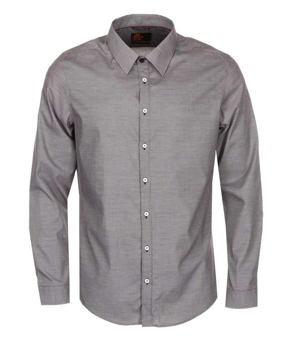 Šedá košile s jemným vzorem Seidensticker Kent Piping City Super Slim Fit