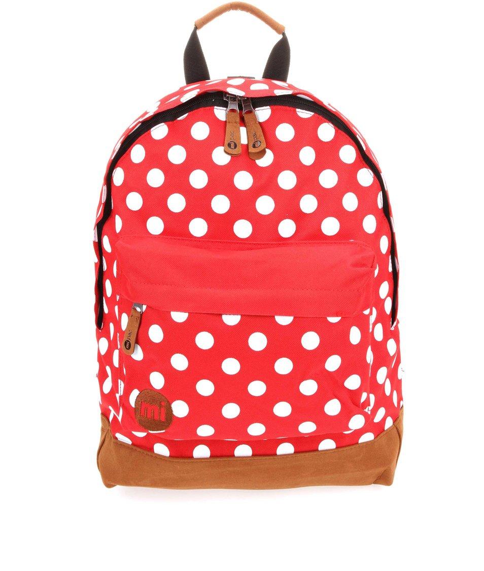 Hnědo-červený dámský batoh s bílými puntíky Mi-Pac All Polka