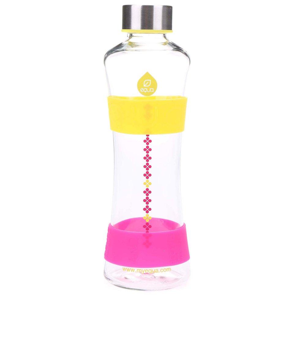 Skleněná láhev s růžovými a žlutými detaily EQUA CMYK SQUEEZE (550 ml)