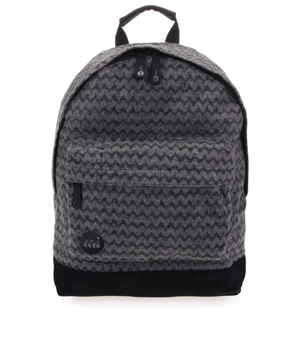 Černo-šedý unisex batoh se vzorem Mi-Pac Felted Chevron