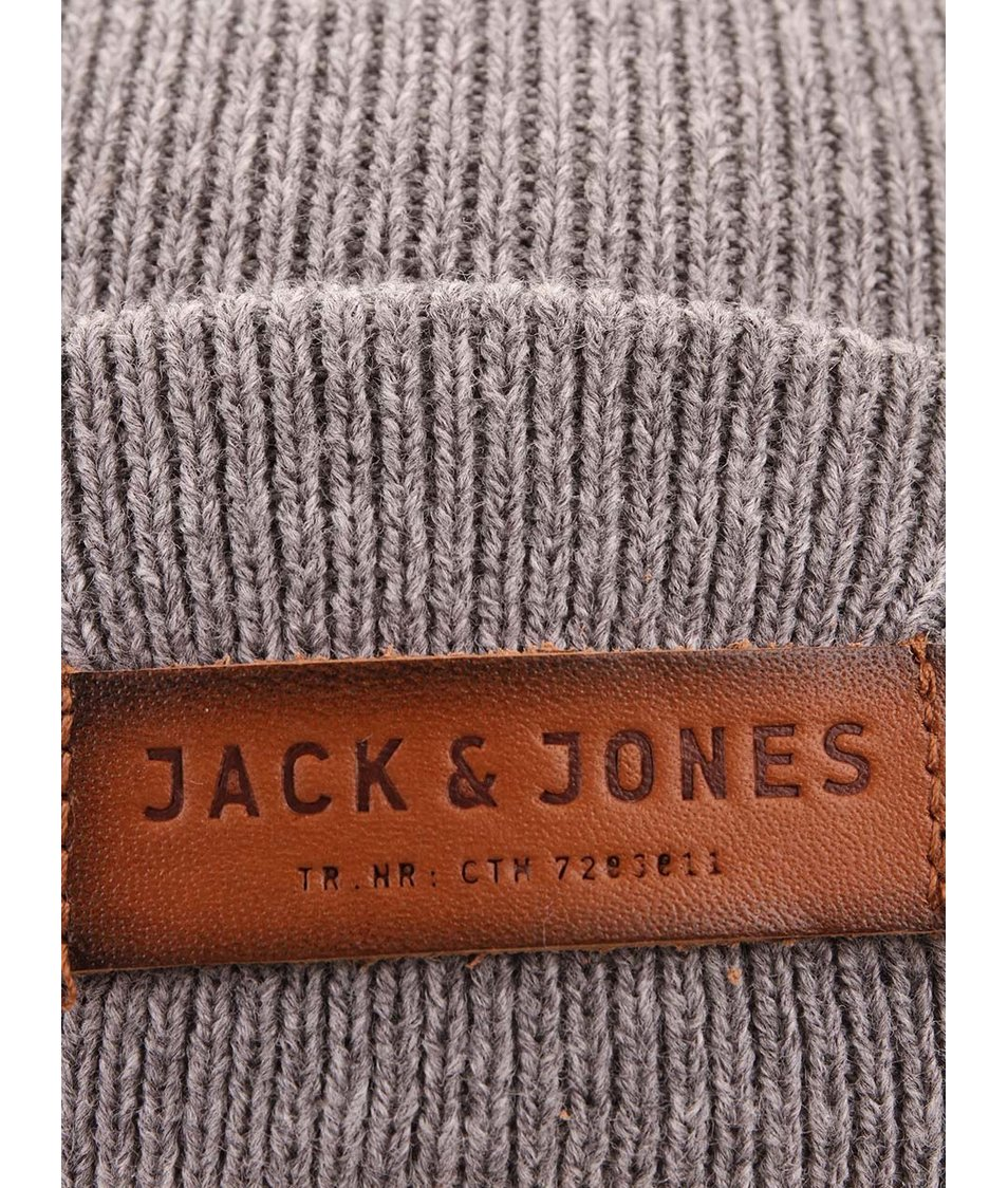 Šedá čepice s logem Jack & Jones Beanie