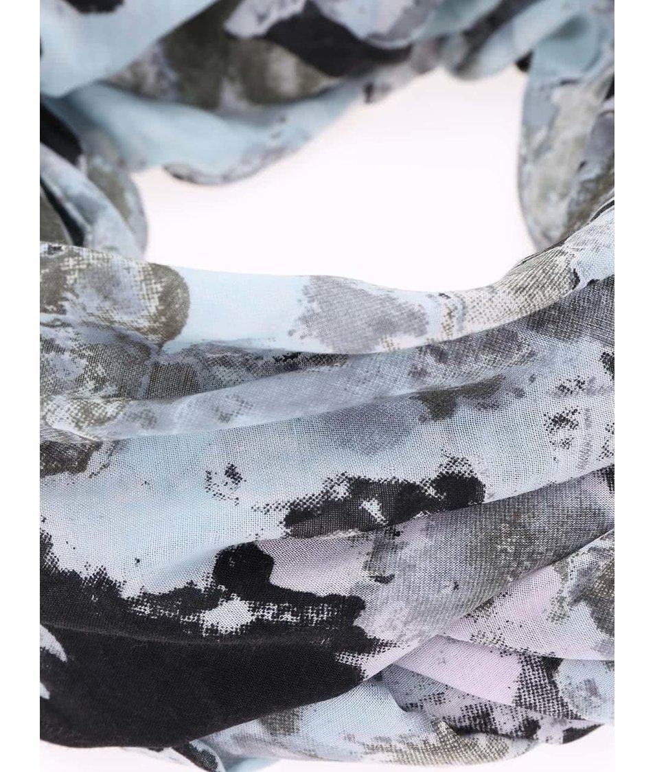 Černo-modrý vzorovaný šátek Pieces Mette