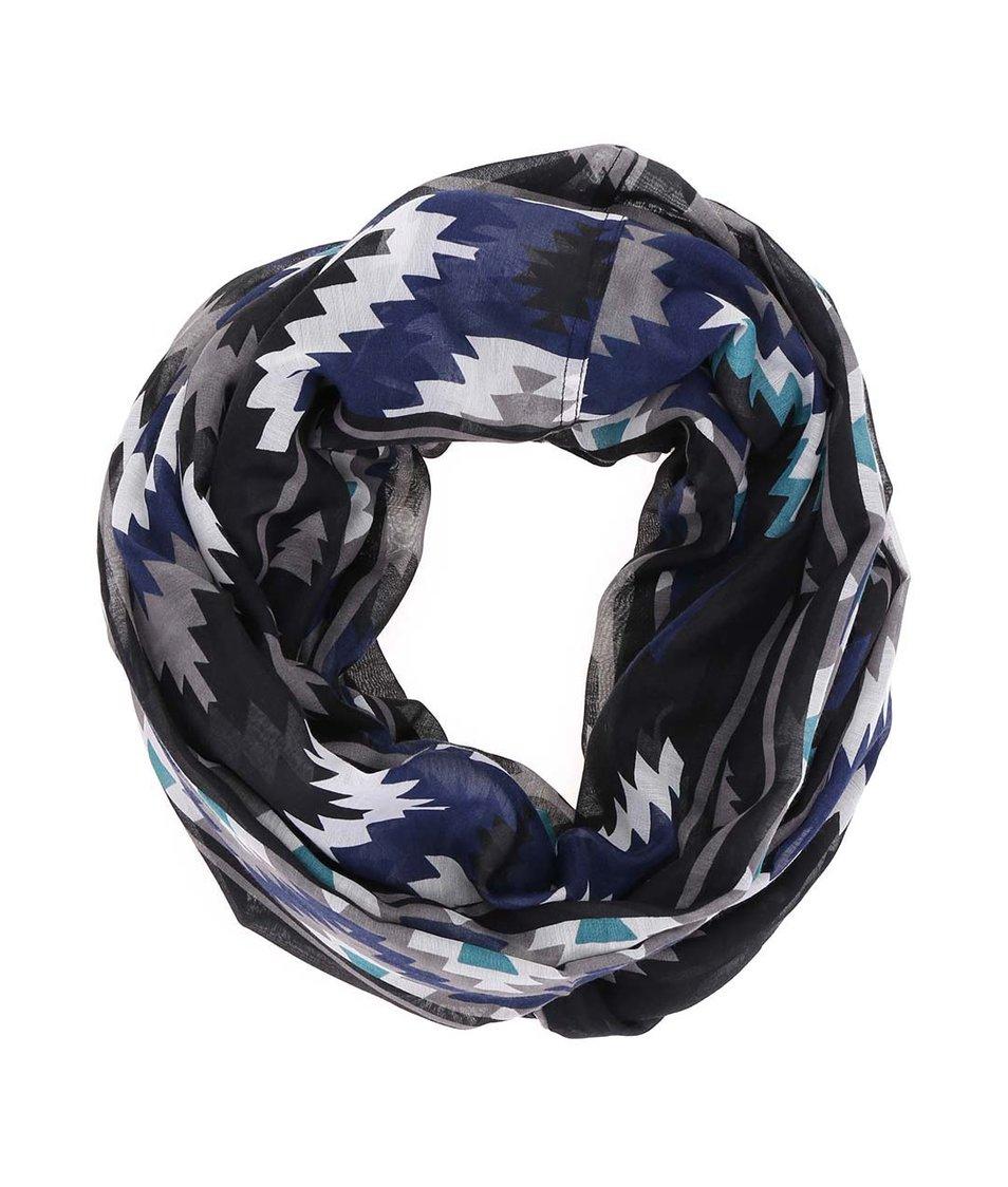 Modro-černý vzorovaný šátek Pieces Ramilla