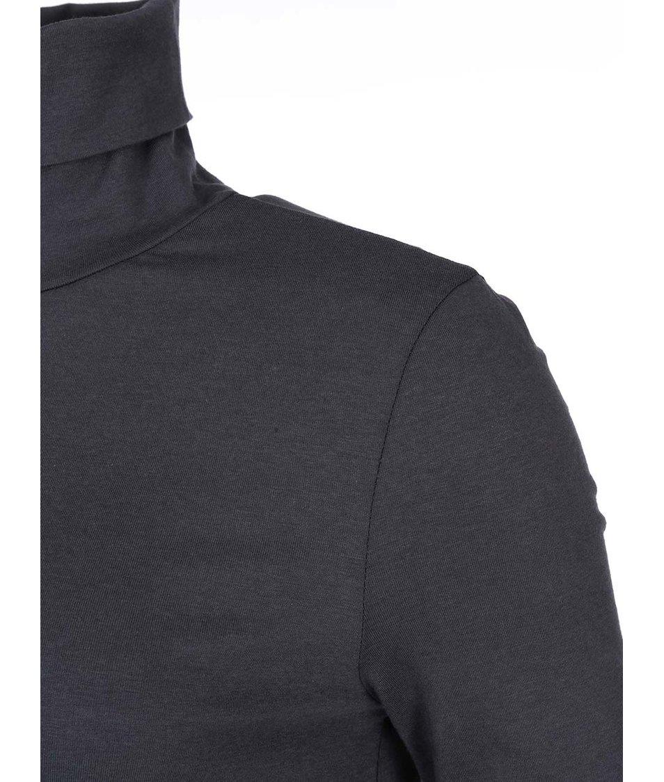 Tmavě šedé šaty s rolákem VILA Officiel