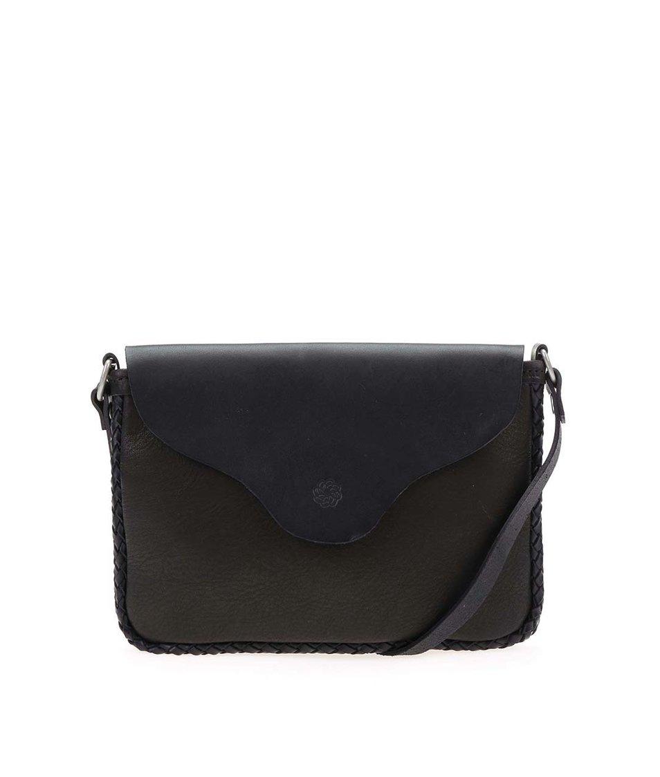 Černá menší kožená kabelka přes rameno Pieces Roger