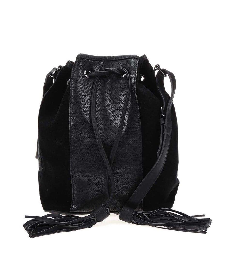 Černá kabelka se střapci Pieces Rossella
