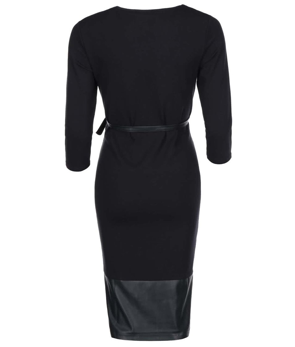 Černé těhotenské šaty s koženkovými detaily Mama.licious Addy