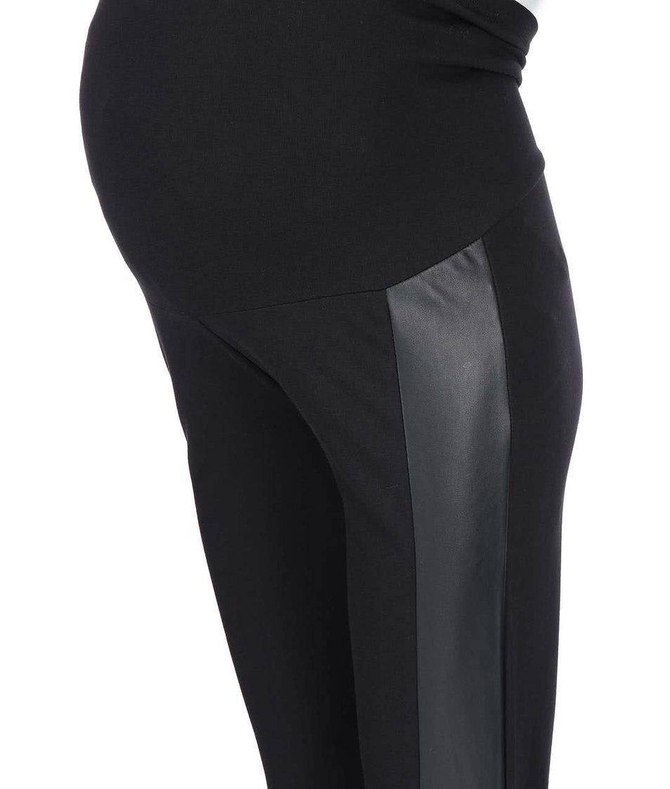 Černé těhotenské legíny s koženkovými detaily Mama.licious Addy