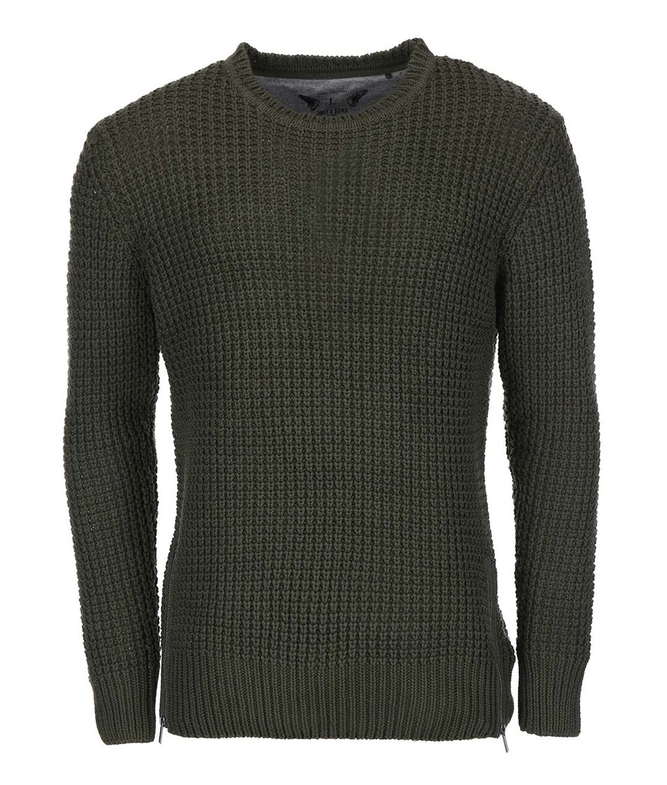 Tmavě zelený pletený svetr ONLY & SONS Glenn