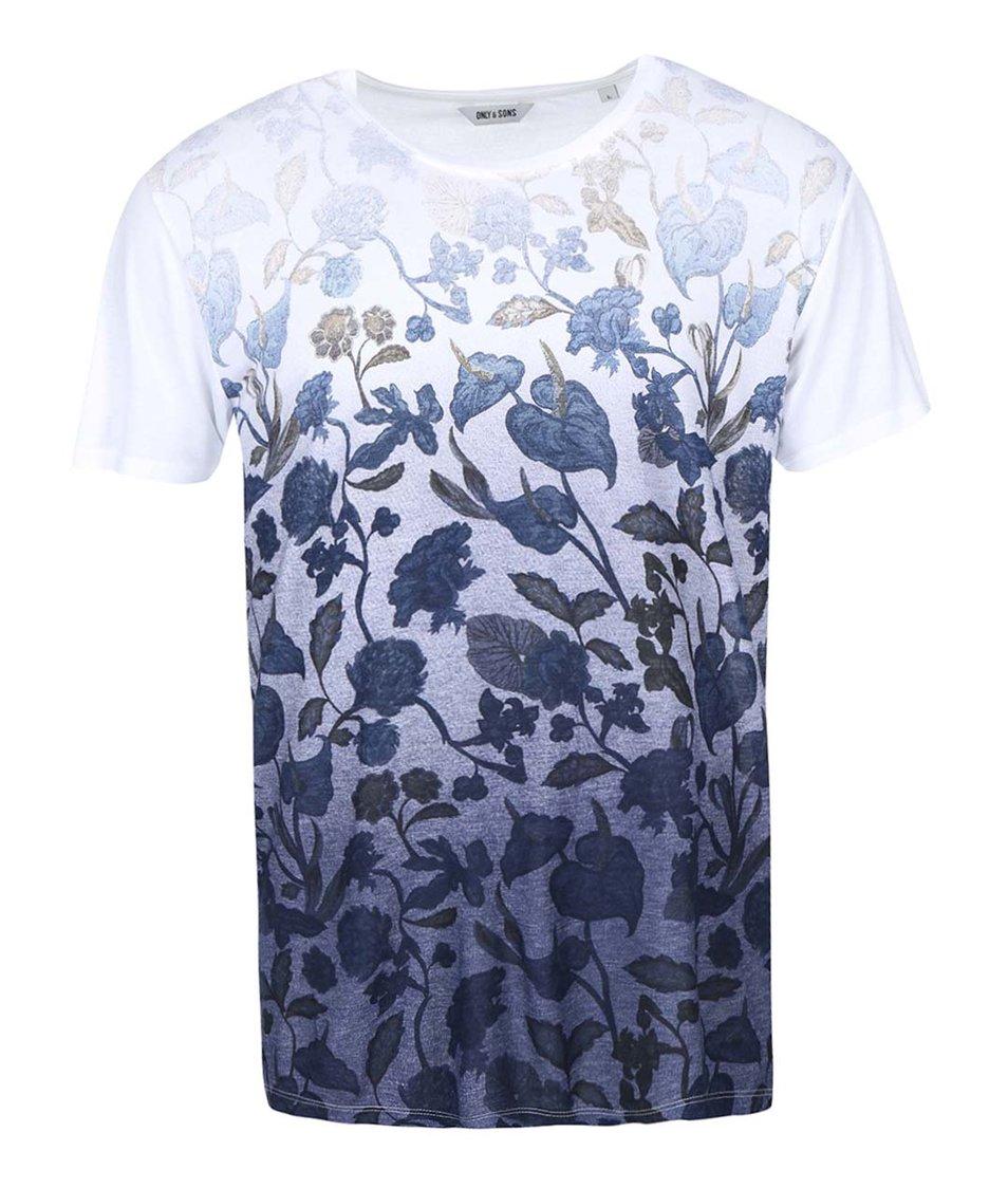 Modro-bílé triko s potiskem květin ONLY & SONS Nolan