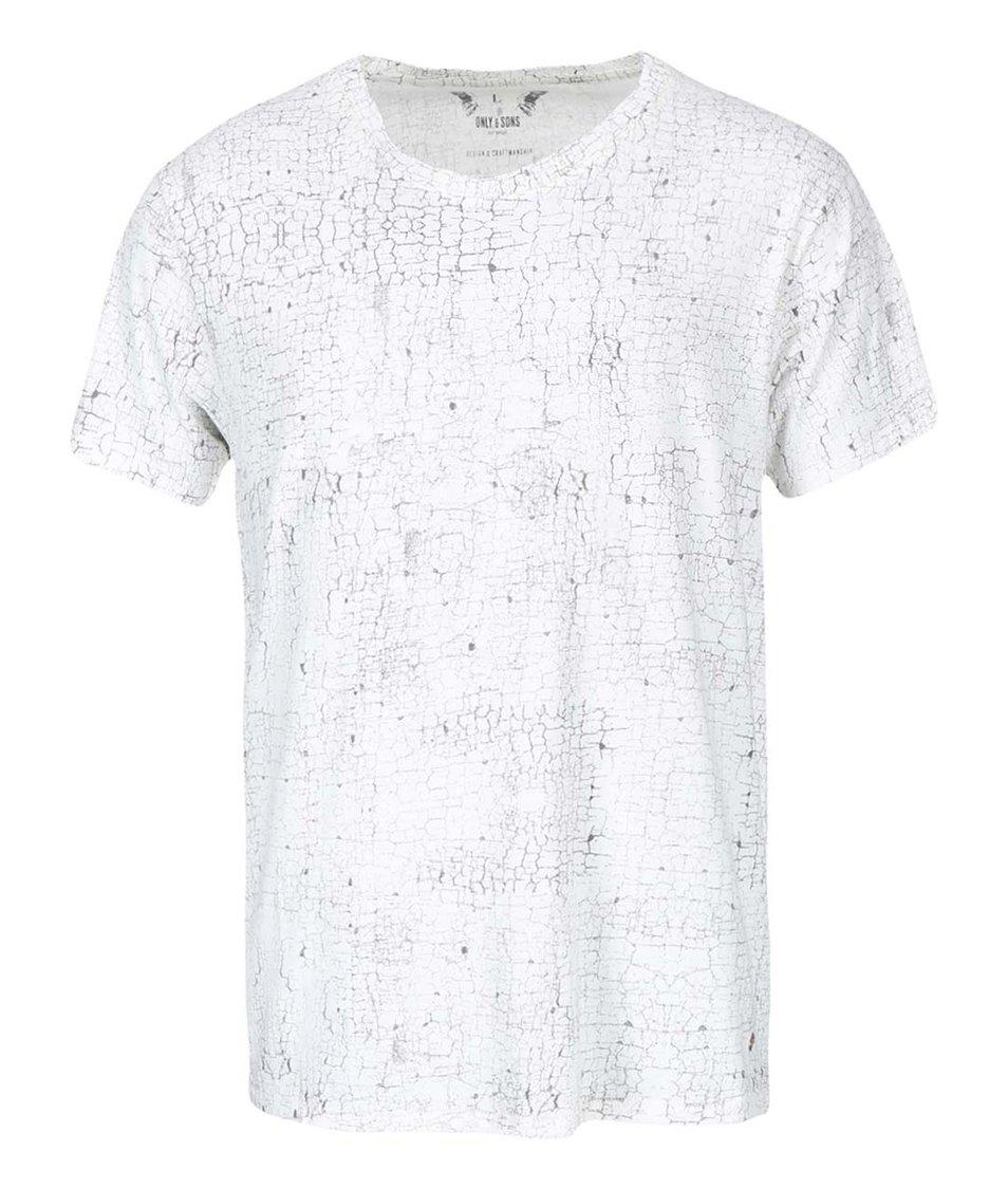 Krémové vzorované triko ONLY & SONS Noam