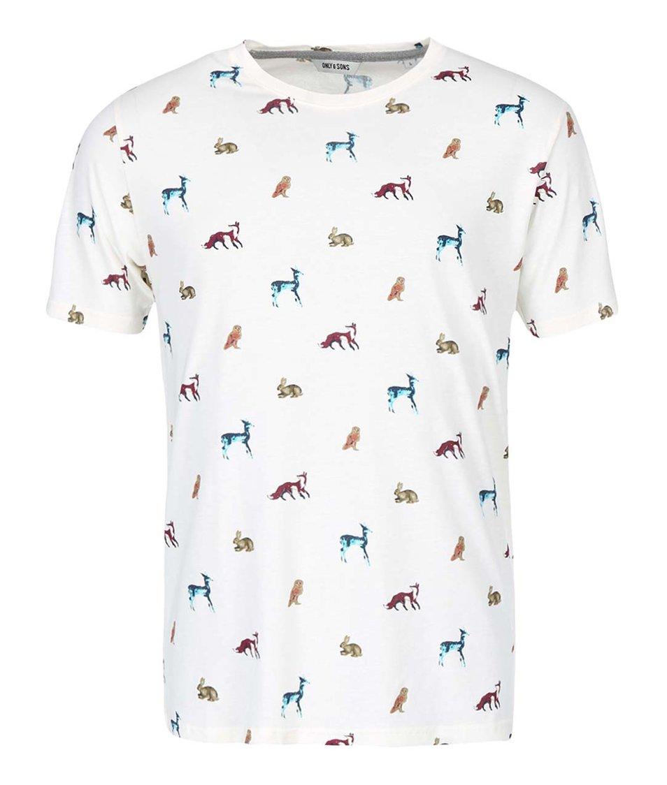Krémové triko s potiskem zvířat ONLY & SONS Nathan