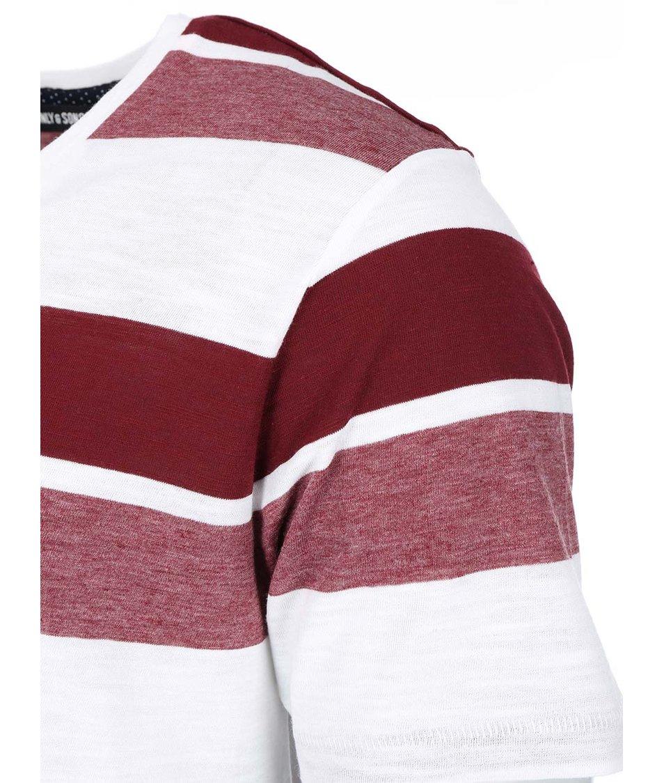 Vínovo-bílé pruhované triko ONLY & SONS Thor