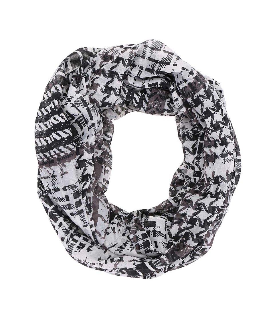 Černo-bílý dutý šátek Pieces Rizzo