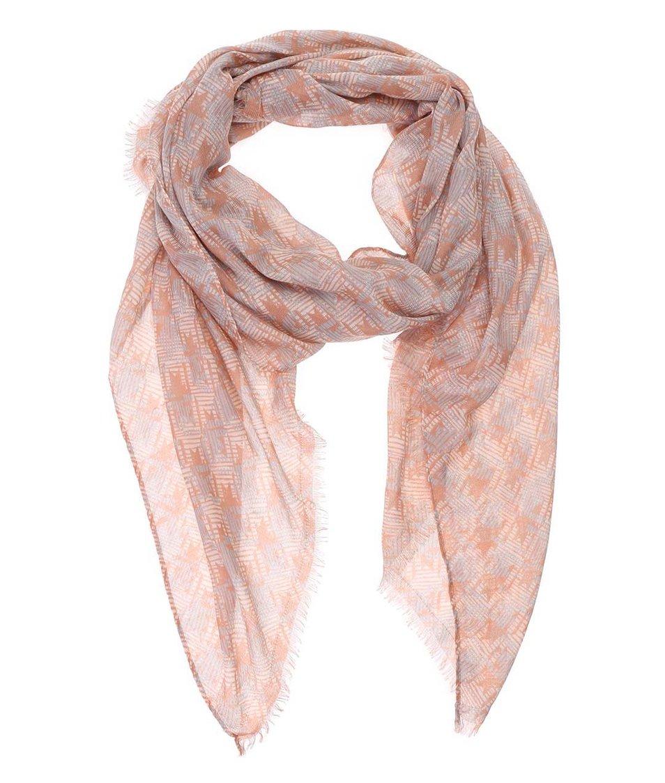 Šedo-růžový vzorovaný šátek Pieces Ricci