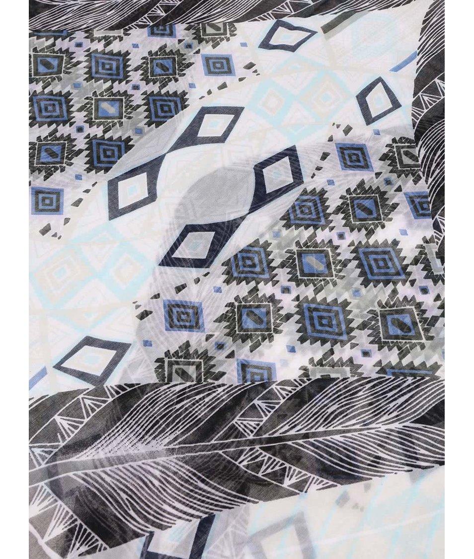 Krémový vzorovaný šátek Pieces Raus