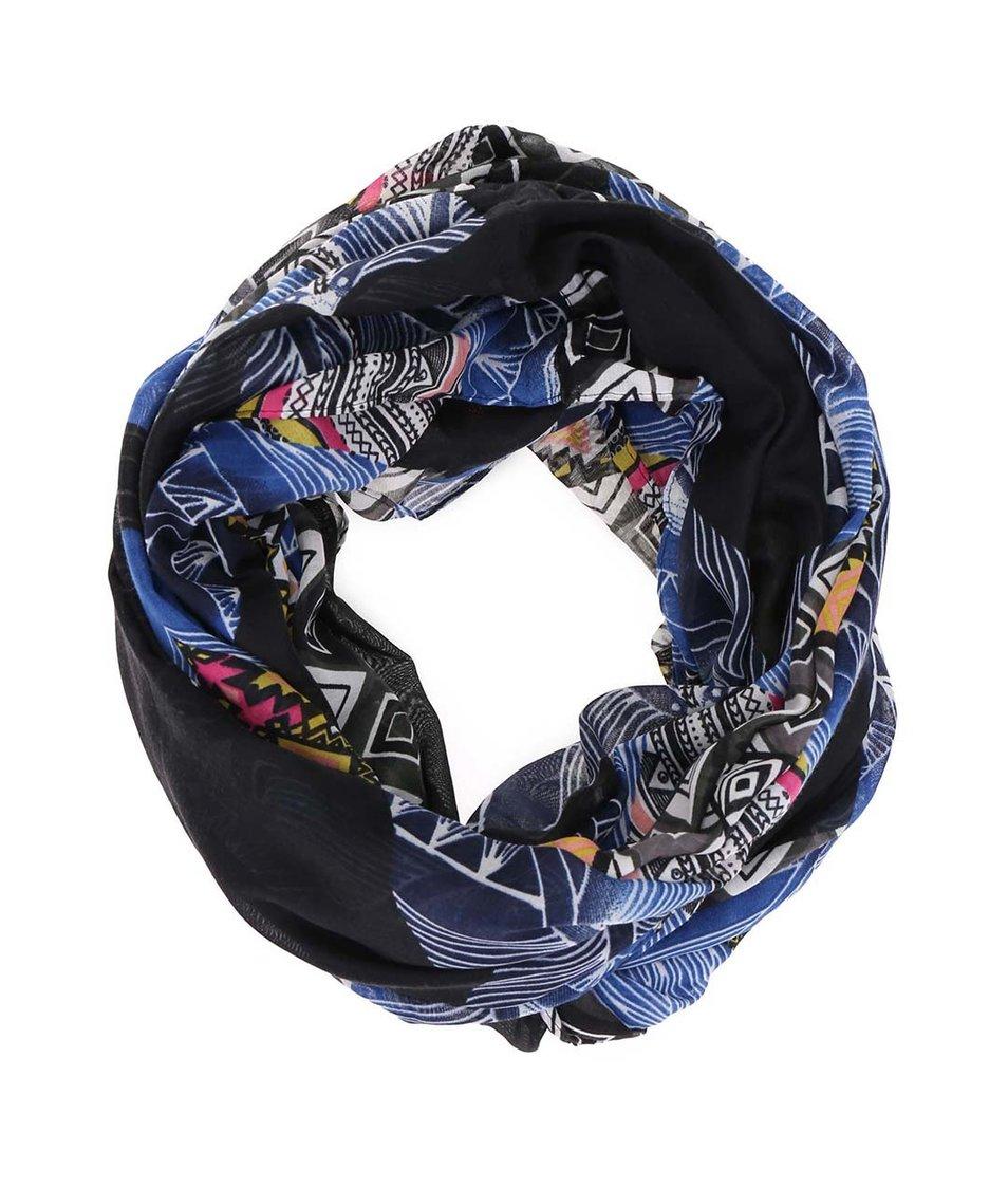 Černý vzorovaný šátek Pieces Raus