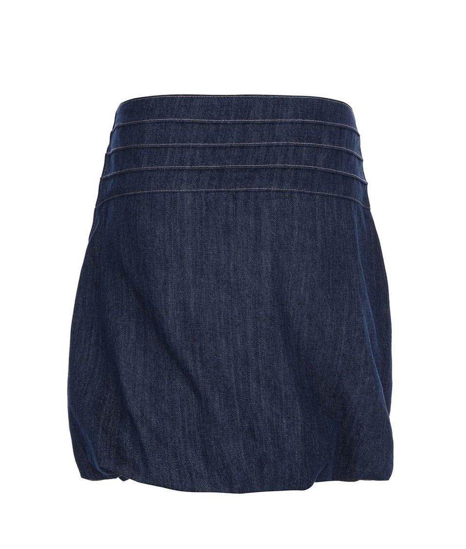 Modrá džínová balonová sukně se zelenou podšívkou Tranquillo Mopsus