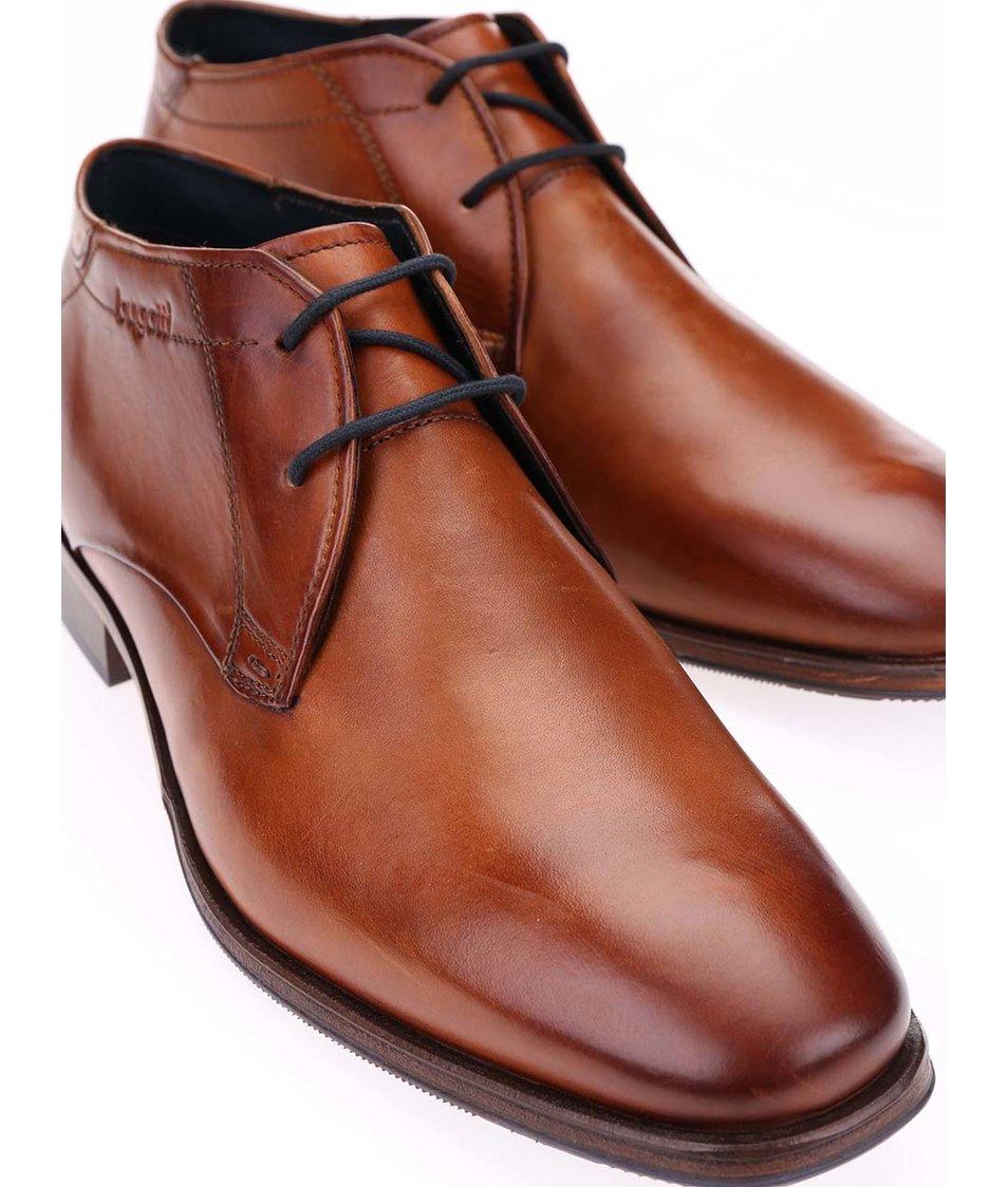 Hnědé pánské kožené kotníkové boty bugatti Lopoldo