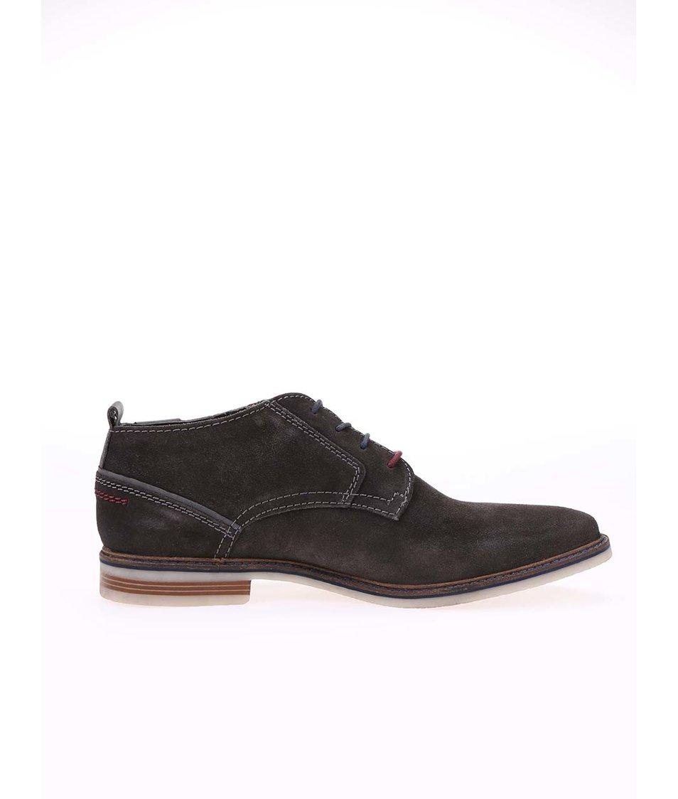 Tmavě šedé pánské kožené kotníkové boty bugatti Vanity Evo
