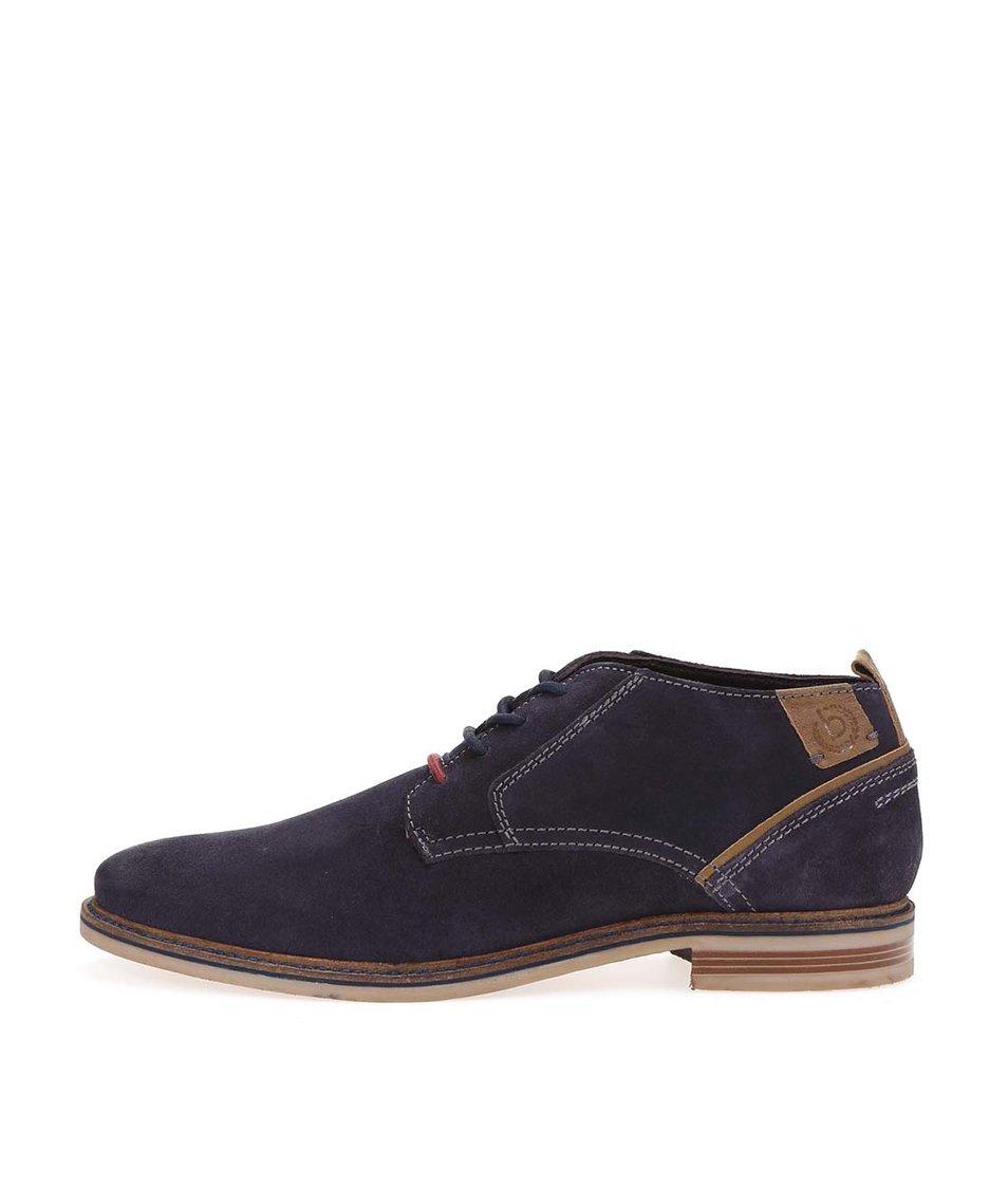 Tmavě modré pánské kožené kotníkové boty bugatti Vanity Evo