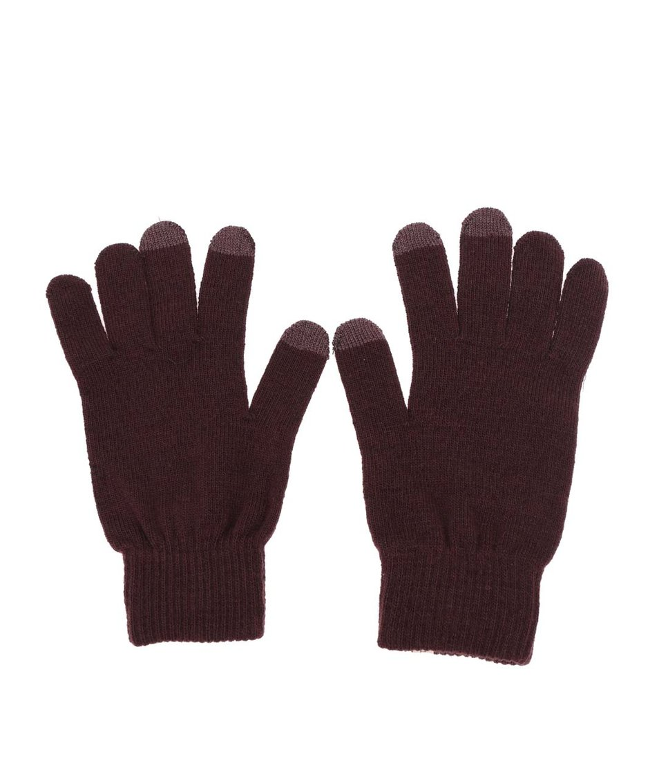 Vínové zimní rukavice Selected Leth