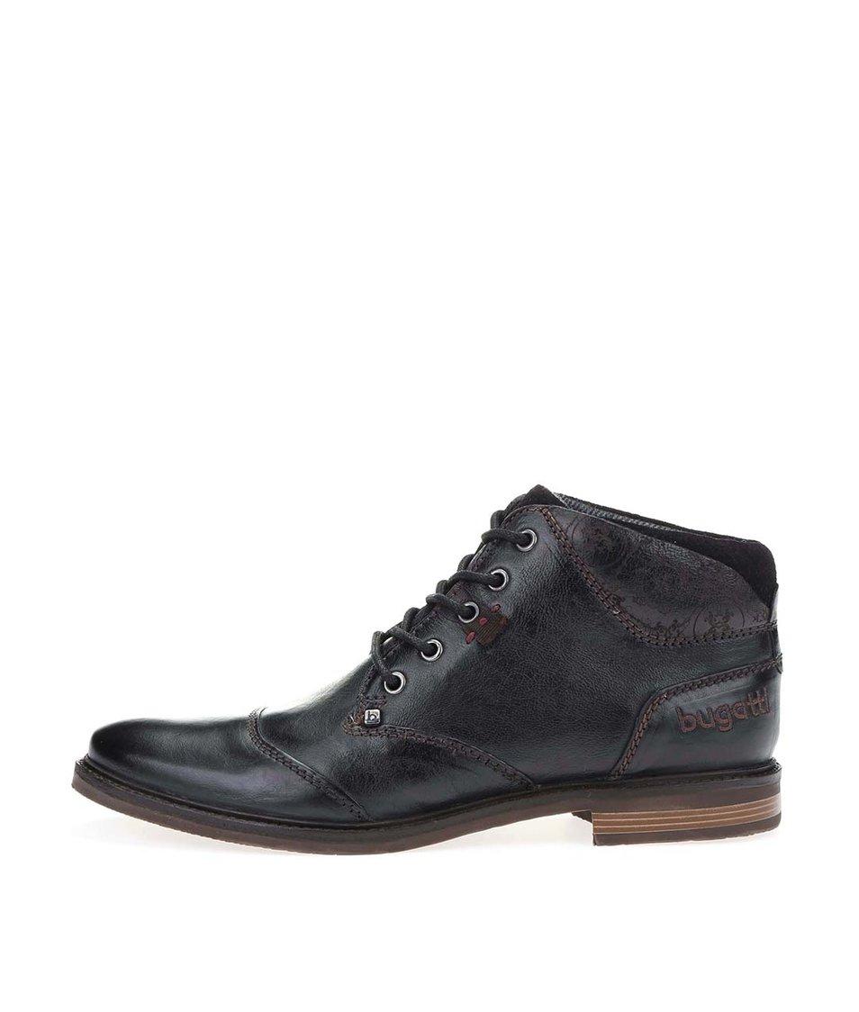 Černé pánské kožené kotníkové boty bugatti Vanity Evo