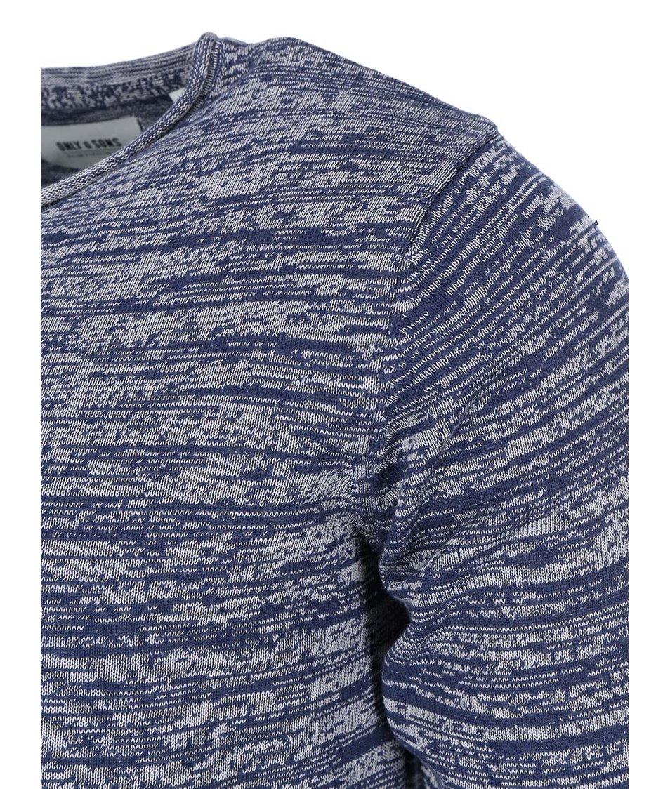 Šedo-modrý žíhaný svetr ONLY & SONS Satre