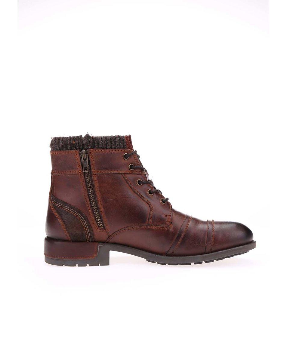 Hnědé pánské kožené kotníkové boty bugatti Sammy