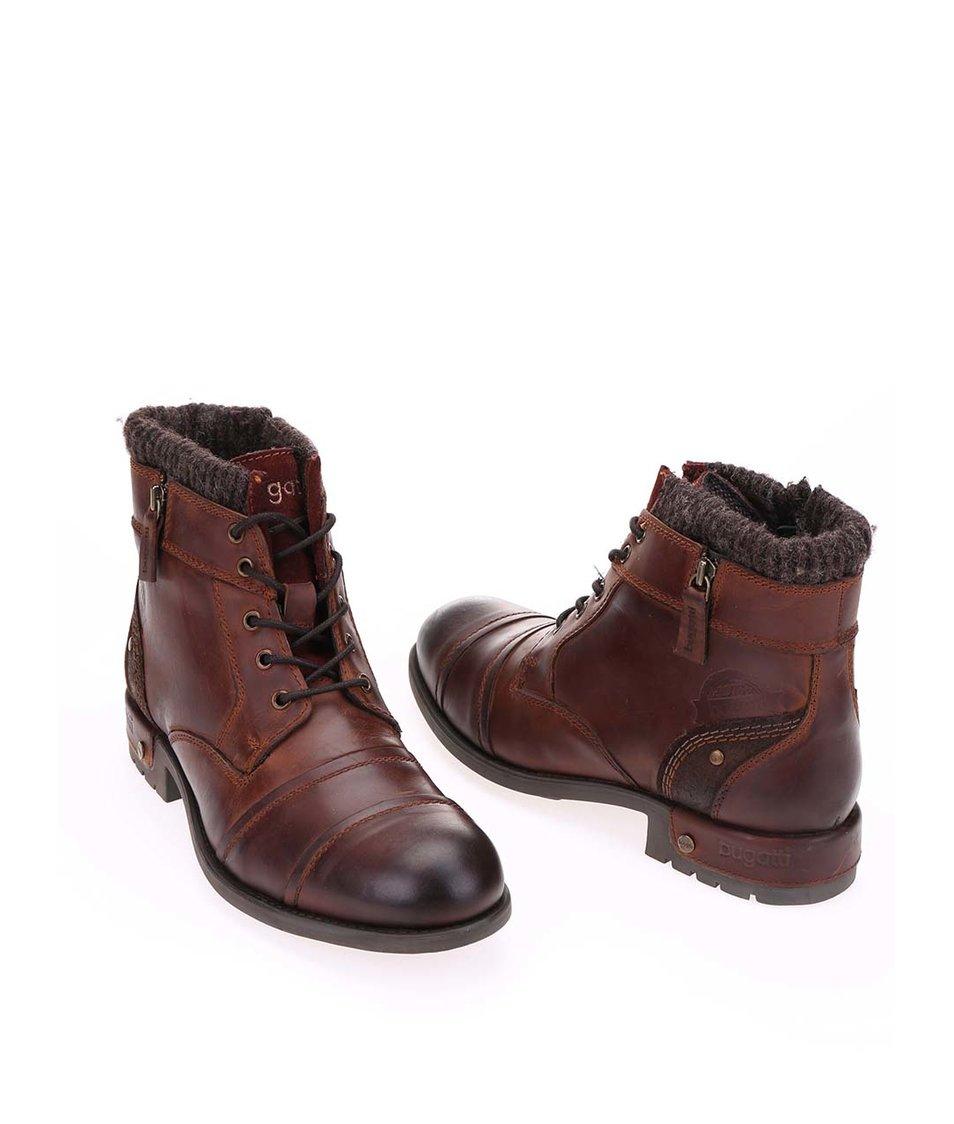 26673ae6179 Hnědé pánské kožené kotníkové boty bugatti Sammy - Vánoční HIT ...