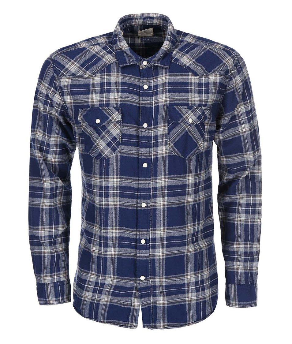 Tmavě modrá károvaná košile Selected Ashwin