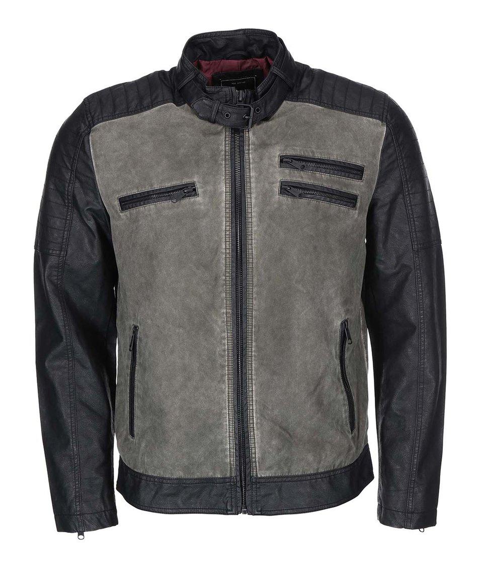 Černo-šedá bunda ONLY & SONS Teddy Biker