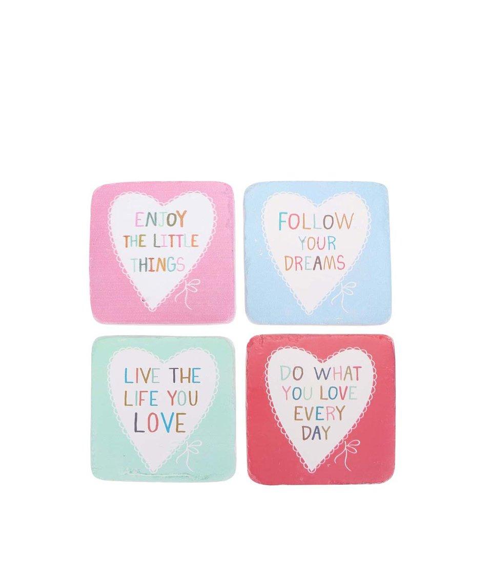 Sada čtyř keramických podtácků Sass & Belle Love