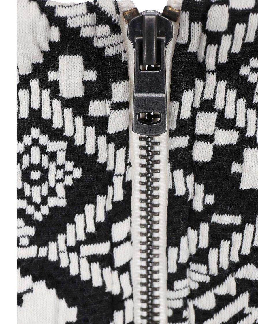 Bílo-černé šaty se žakárovým vzorem ONLY Charlot