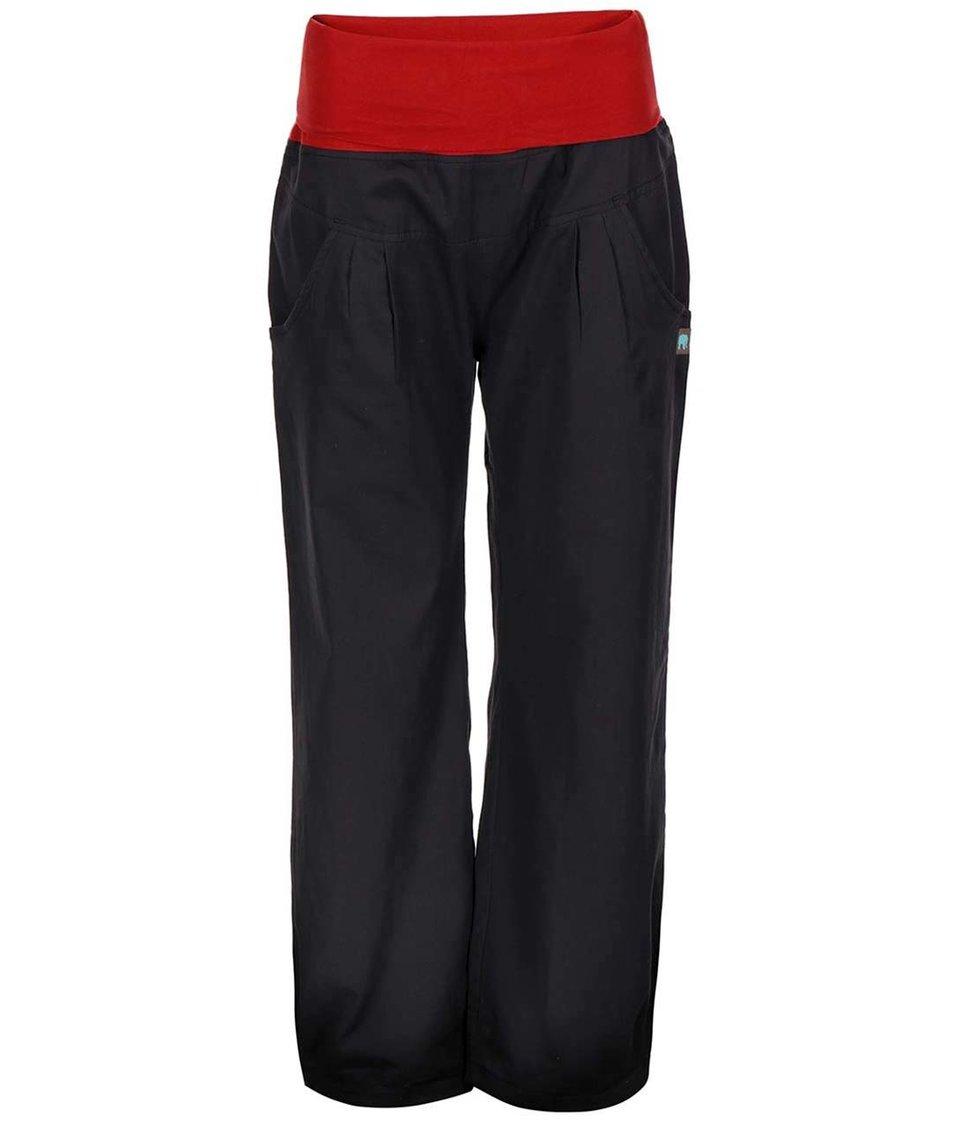 Černé kalhoty s červeným pasem Tranquillo Pravin