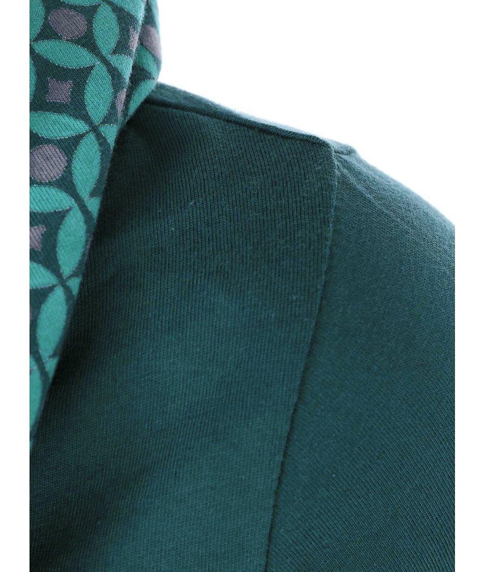 Tyrkysové triko se vzorovaným límcem Tranquillo Aditya