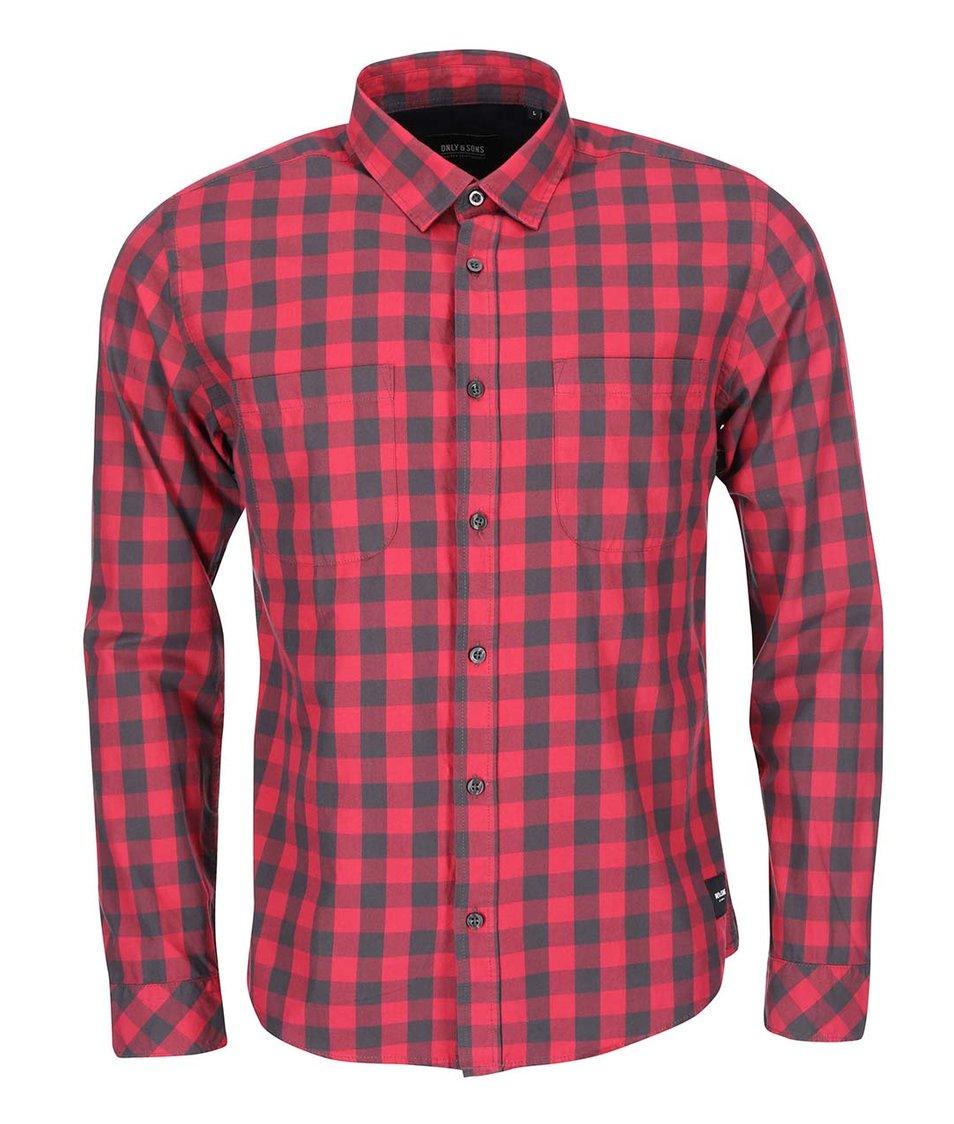 Černo-červená kostkovaná košile ONLY & SONS Volta