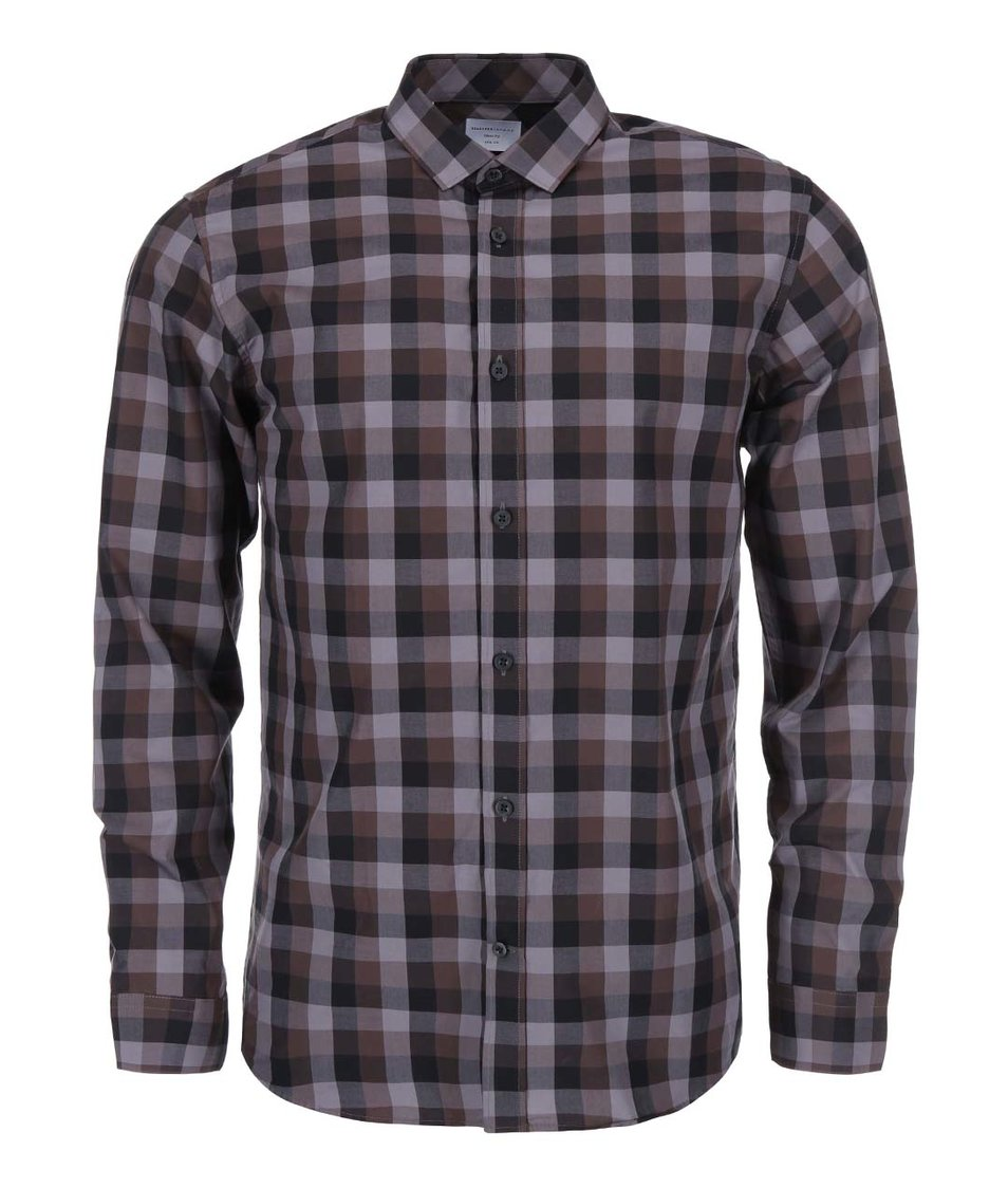 Hnědo-šedá kostkovaná košile Selected Gray
