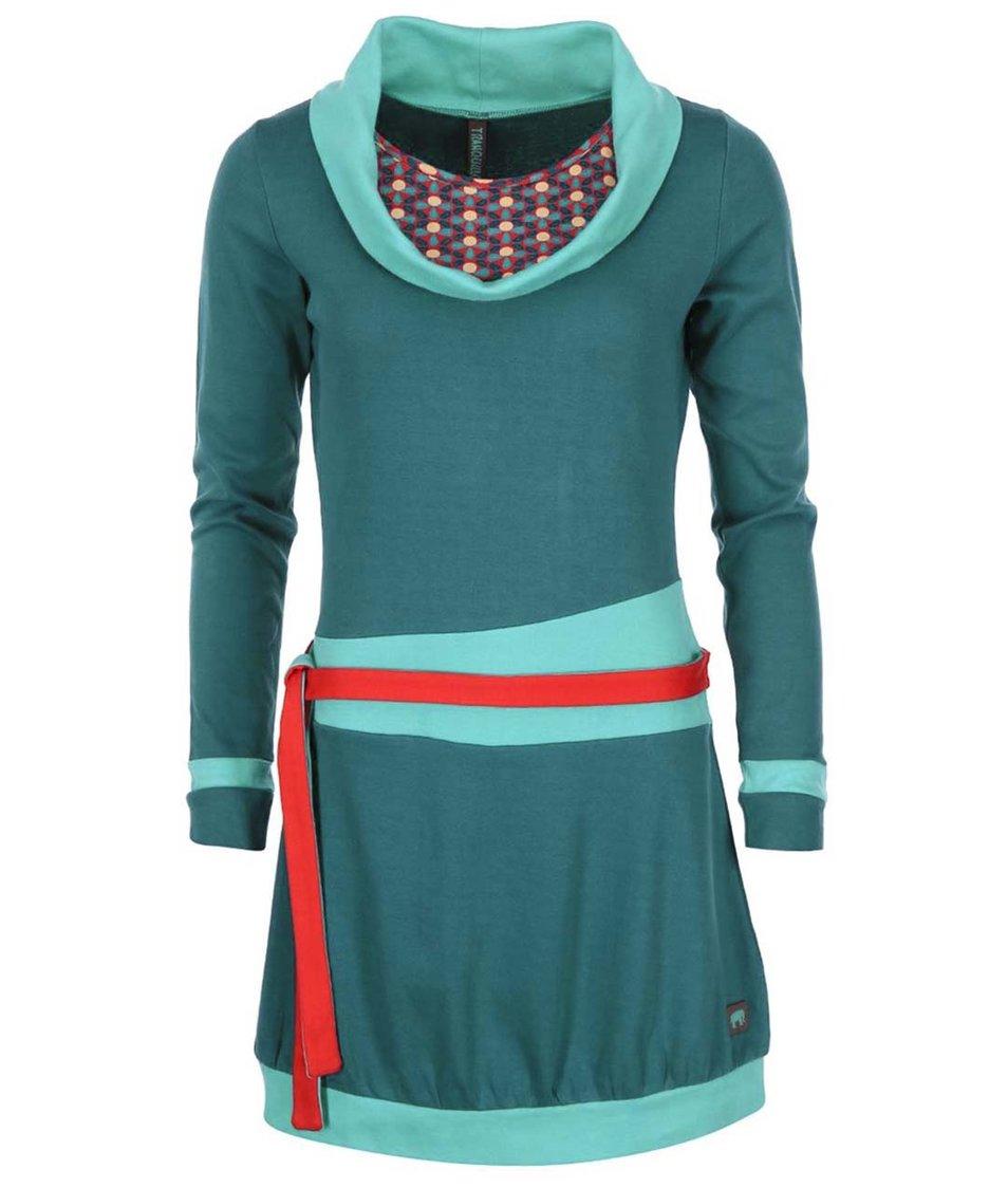 Tyrkysové šaty s dlouhým rukávem Tranquillo Kassiope