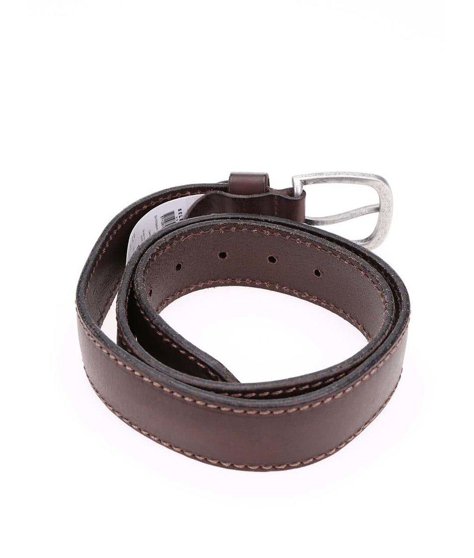 Tmavě hnědý kožený pásek Selected Mason