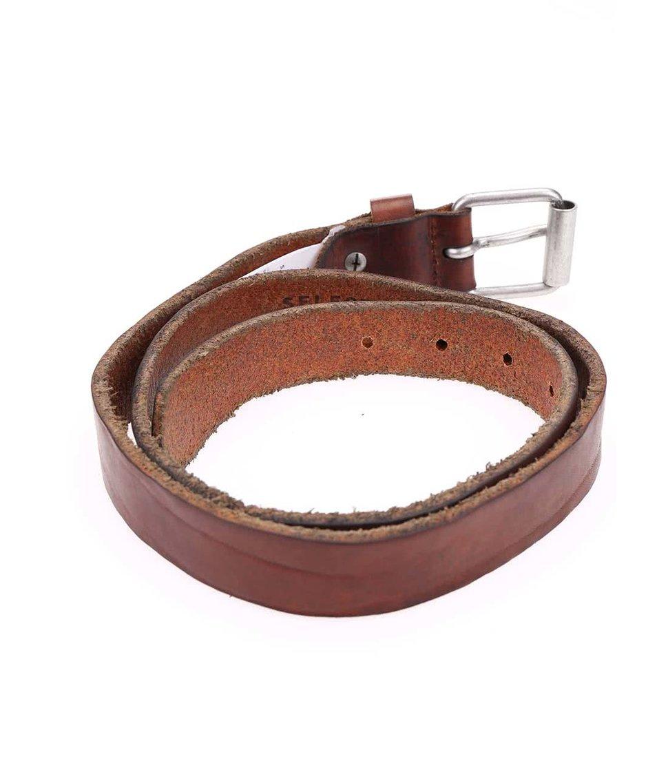 Hnědý kožený pásek Selected Mason