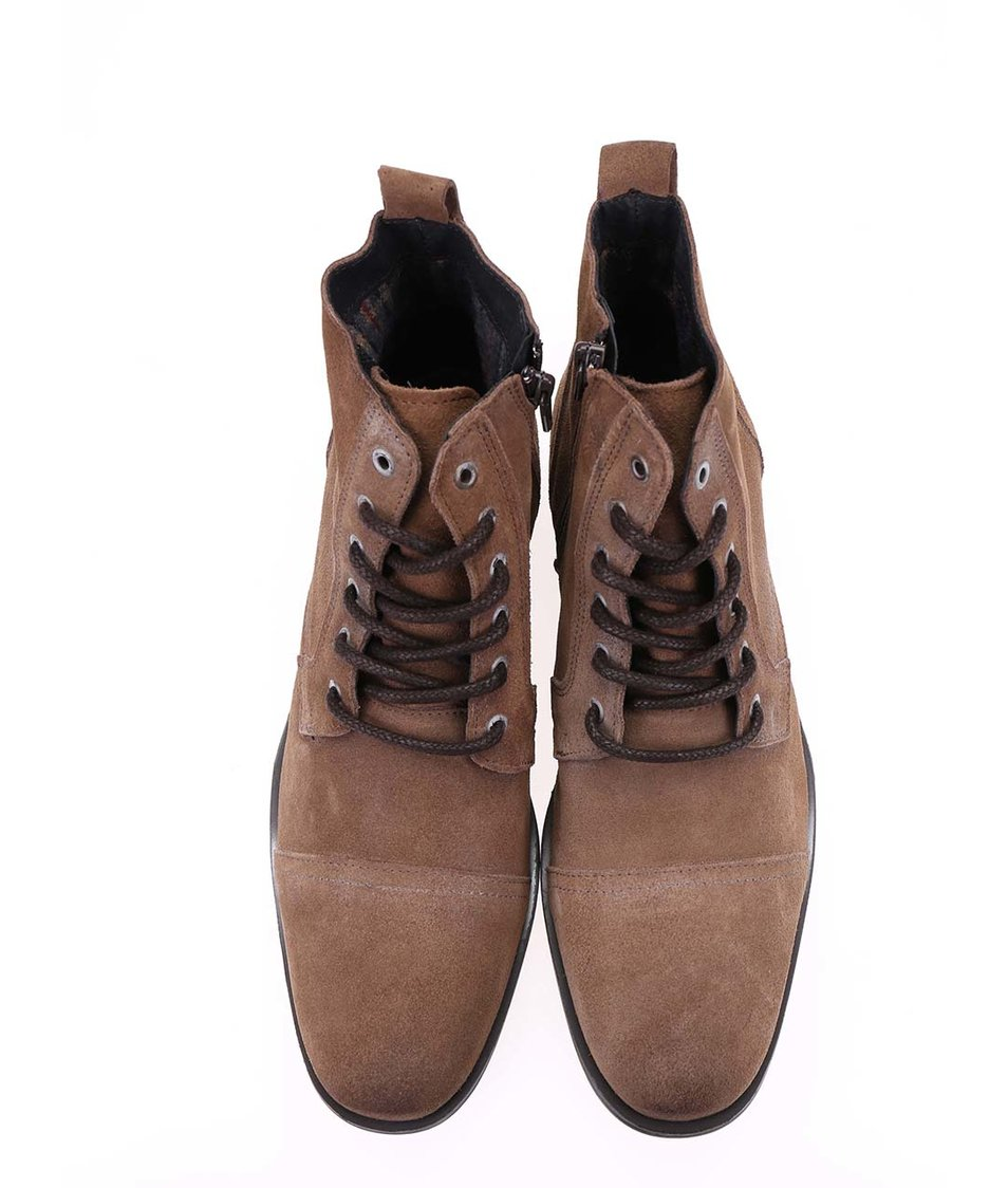 Světle hnědé kožené kotníkové boty Selected Taylor