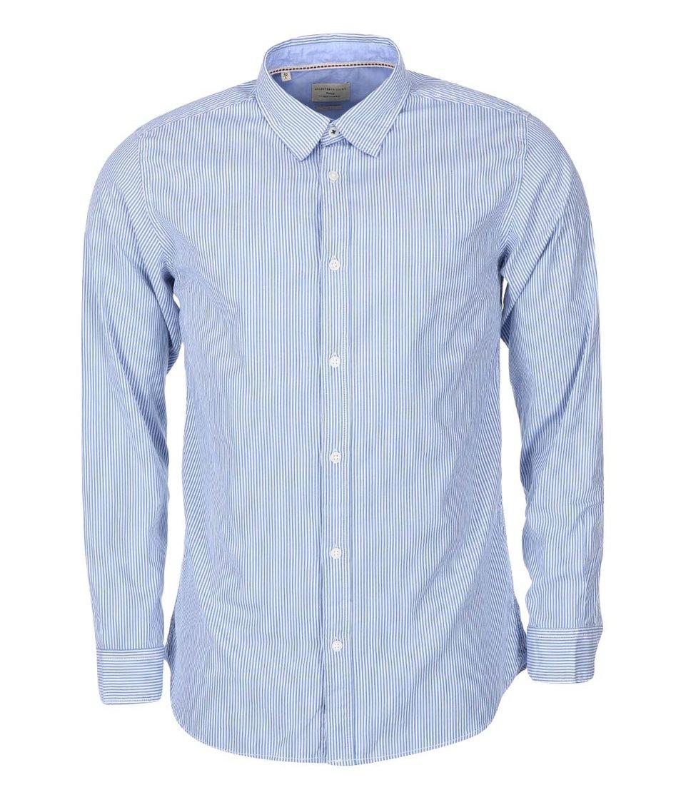 Světle modrá pruhovaná košile Selected Marius
