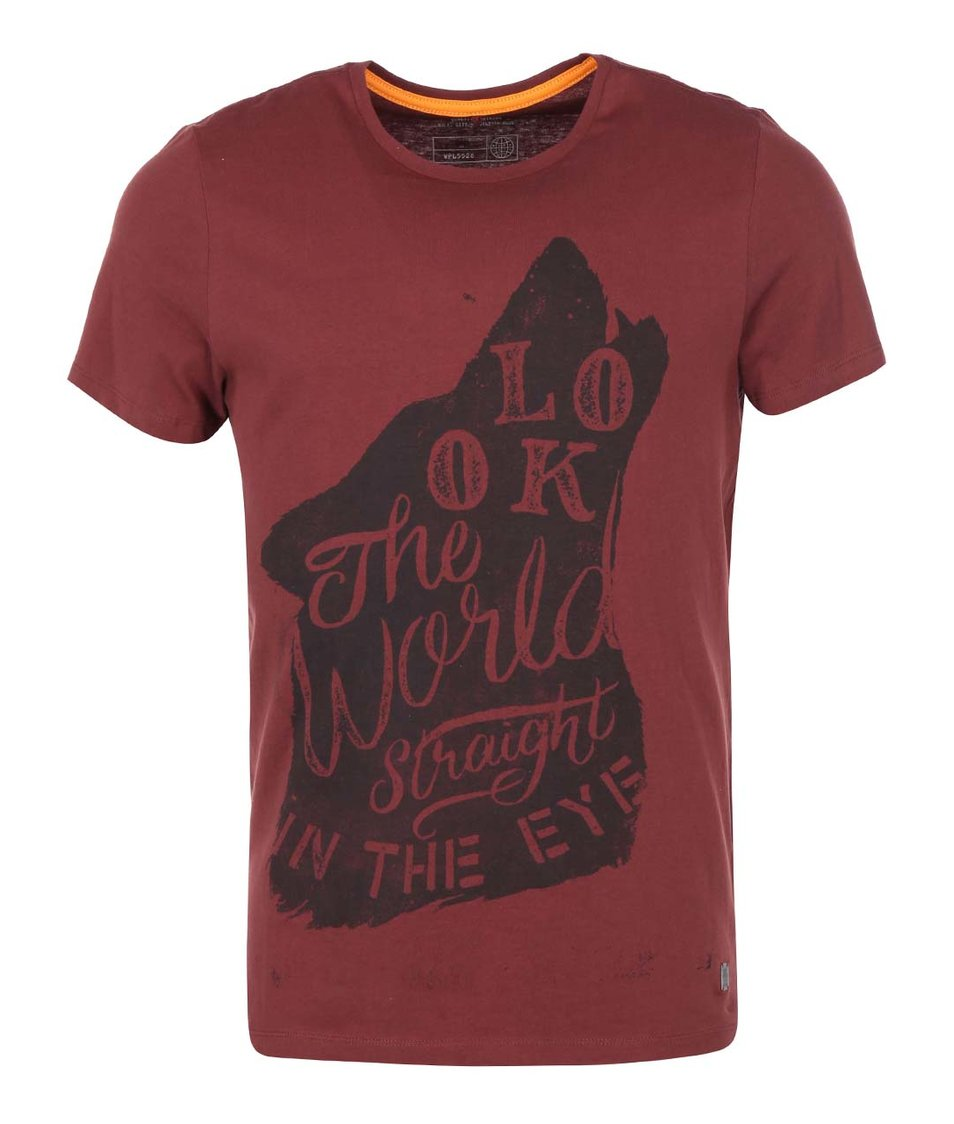 Vínové triko s vlkem Blend