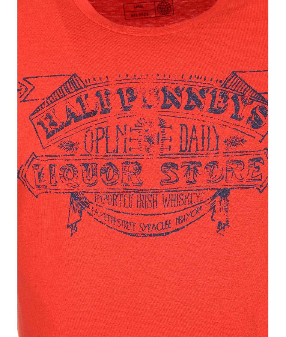 Oranžovočervené triko s vintage potiskem Blend