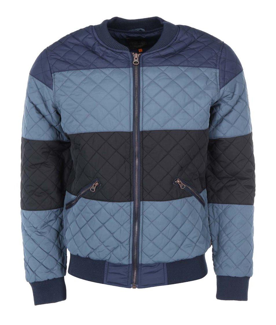 Modrá prošívaná bunda s pruhy Blend