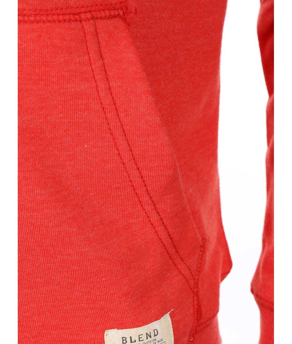 Oražnovočervená mikina na zip s kapucí Blend