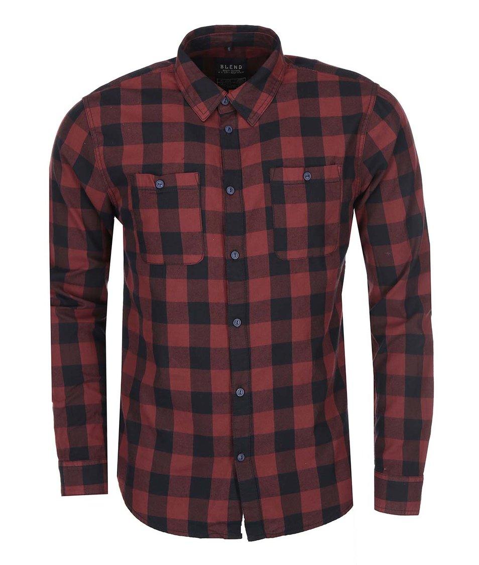 Černo-vínová kostkovaná košile Blend